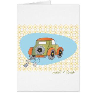 Cartões de agradecimentos do casamento - carro ret
