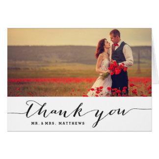 Cartões de agradecimentos do casamento da escrita