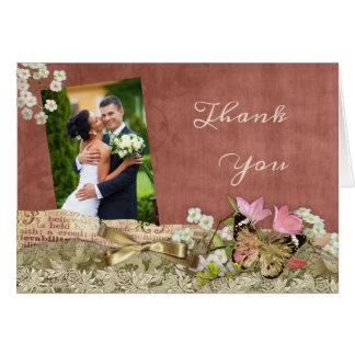 Cartões de agradecimentos do casamento da foto