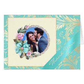 Cartões de agradecimentos do casamento da foto da
