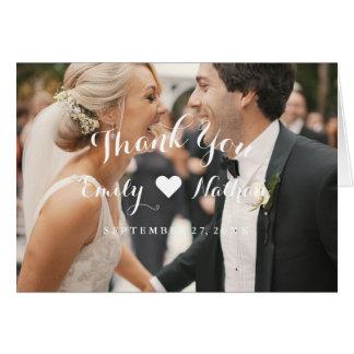 Cartões de agradecimentos do casamento da foto do
