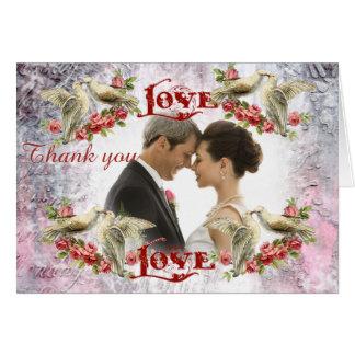 Cartões de agradecimentos do casamento da pomba do
