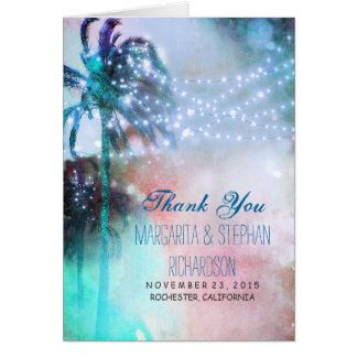 cartões de agradecimentos do casamento de praia