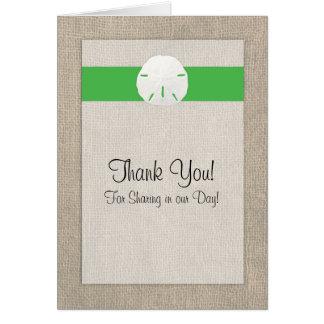 Cartões de agradecimentos do casamento de praia do