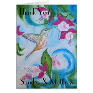 Cartões de agradecimentos do casamento do colibri