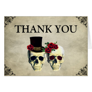 Cartões de agradecimentos do casamento do crânio
