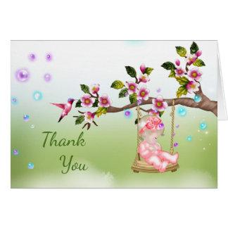Cartões de agradecimentos do chá de fraldas com o