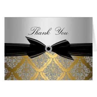 Cartões de agradecimentos do damasco do ouro & da
