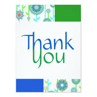 Cartões de agradecimentos do verde azul da cerceta