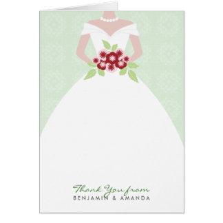 Cartões de agradecimentos do vestido de casamento