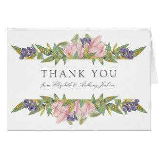 Cartões de agradecimentos doces do casamento da