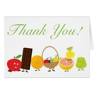 Cartões de agradecimentos dos caráteres da comida