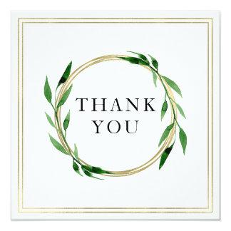 Cartões de agradecimentos dourados do casamento da convite quadrado 13.35 x 13.35cm