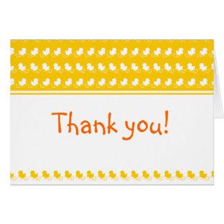 cartões de agradecimentos ducky amarelos do chá de