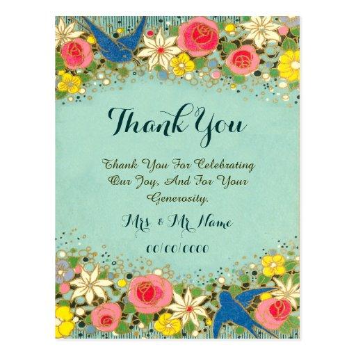 cartões de agradecimentos florais coloridos cartoes postais