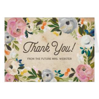 Cartões de agradecimentos florais do chá de panela