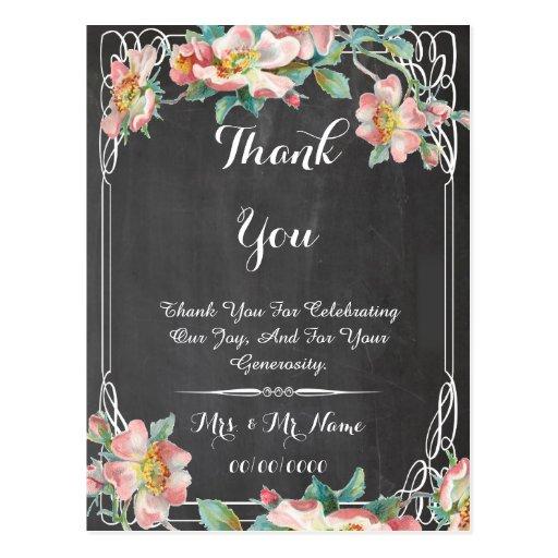 cartões de agradecimentos florais do quadro cartão postal