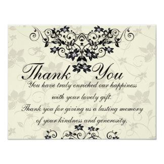 Cartões de agradecimentos florais preto e branco convite 10.79 x 13.97cm