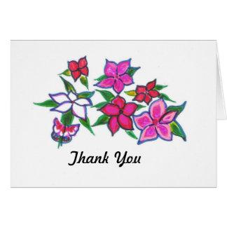 Cartões de agradecimentos florais vermelhos e