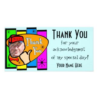 Cartões de agradecimentos inspirados retros da cartão com foto
