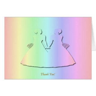 Cartões de agradecimentos lésbicas do casamento do