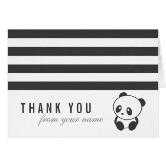 Cartões de agradecimentos listrados da panda