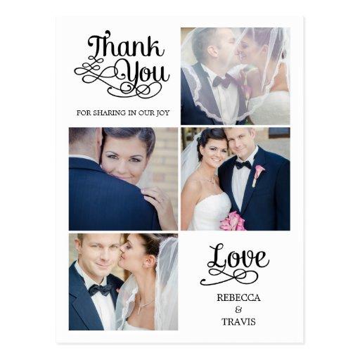 Cartões de agradecimentos modernos do casamento da cartao postal