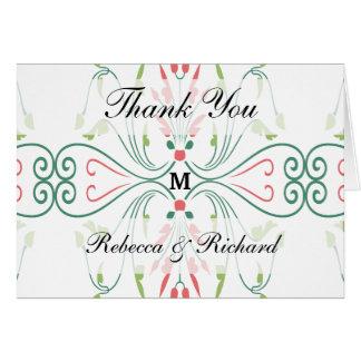 Cartões de agradecimentos Monogrammed do casamento
