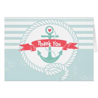 Cartões de agradecimentos náuticos com âncora e co