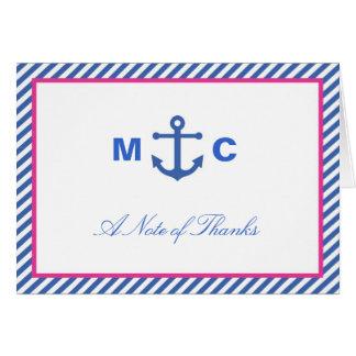 Cartões de agradecimentos náuticos do casamento