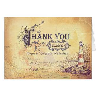 Cartões de agradecimentos náuticos do casamento do