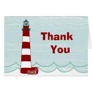 Cartões de agradecimentos náuticos do farol