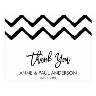 Cartões de agradecimentos preto e branco cartão postal