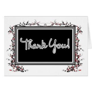 Cartões de agradecimentos - preto e branco com ros