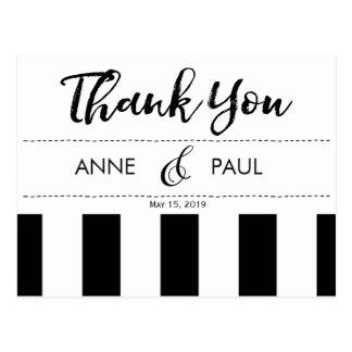 Cartões de agradecimentos preto e branco da