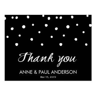 Cartões de agradecimentos preto e branco das cartão postal