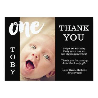 Cartões de agradecimentos pretos & brancos do bebê convite 11.30 x 15.87cm