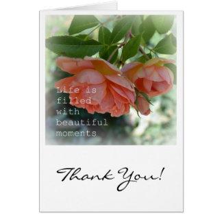 Cartões de agradecimentos românticos dos momentos