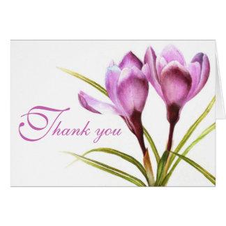 Cartões de agradecimentos roxos do casamento da