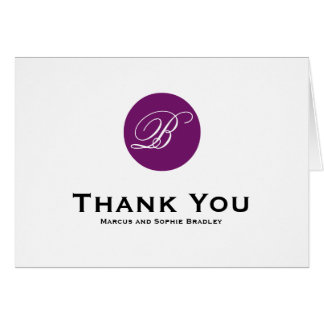 Cartões de agradecimentos roxos do casamento do