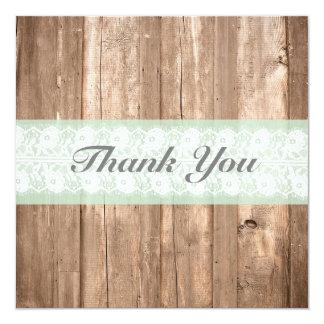 Cartões de agradecimentos rústicos da hortelã do convite quadrado 13.35 x 13.35cm