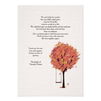 Cartões de agradecimentos sós do falecimento convites personalizado