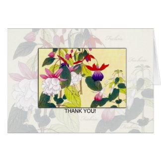 Cartões de agradecimentos vazios da flor de Fuchia