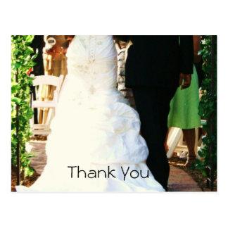 Cartões de agradecimentos verdes do casamento da cartão postal
