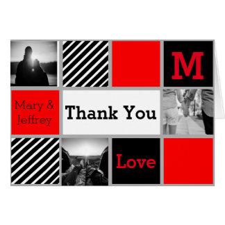 Cartões de agradecimentos vermelhos e listrados