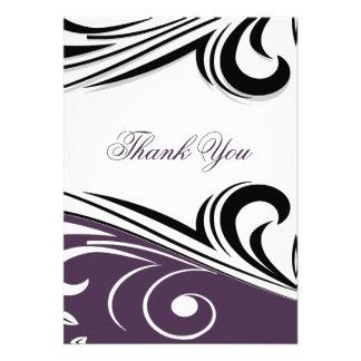 cartões de agradecimentos violetas da modificação convite personalizado