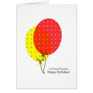 Cartões de aniversário do neto, balões coloridos