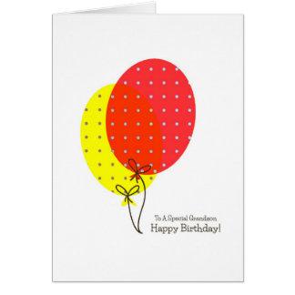 Cartões de aniversário do neto, balões coloridos g
