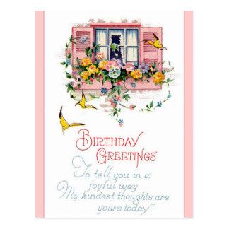 Cartões de aniversários felizes do vintage cartoes postais