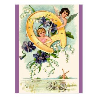 Cartões de aniversários felizes do vintage cartões postais